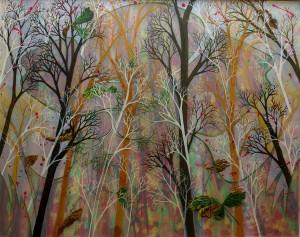 Branch grove, 90x72.7cm, Acrylic on silk, 2015